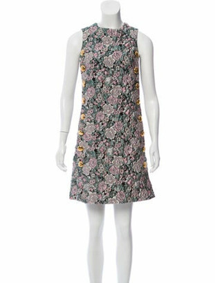 Dolce & Gabbana Quilted Floral Dress w/ Tags Multicolor