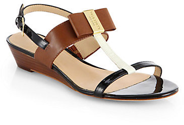Kate Spade Vinny Leather T-Strap Wedge Sandals