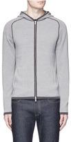 Theory Stripe cotton knit zip hoodie