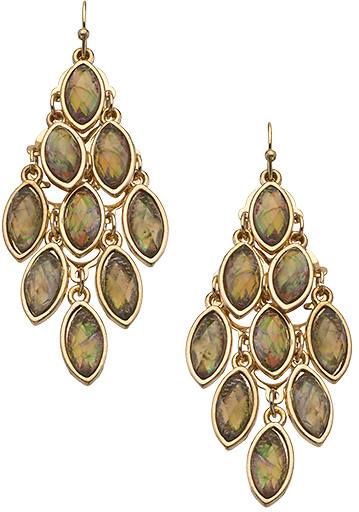 Blu Bijoux Gold and Brown Marquis Chandelier Earrings