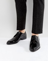 HUGO C-Dresspat Lace Up Patent Calf Leather Derby Shoes In Black