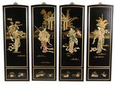 Oriental Furniture Disc 2011 Jan, 36-Inch Lady Generals Chinese Black Lacquer Wall Plaques, Set of 4