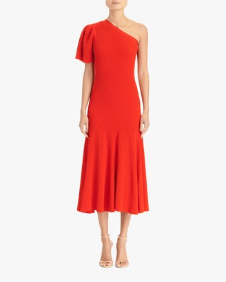 Carolina Herrera One-Shoulder Flutter-Sleeve A-Line Dress