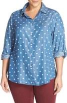 Foxcroft Plus Size Women's Polka Dot Chambray Roll Sleeve Shirt