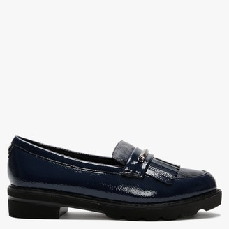 Moda In Pelle Edeena Navy Patent Fringed Loafers
