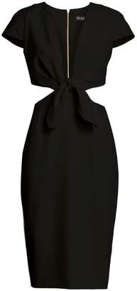 HANEY Deep V-Neck Knotted Cutout Dress