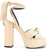 Saint Laurent Bianca Platform Sandals in Light Cream | FWRD