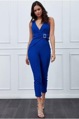 Iclothing Goddiva Vicky Pattison Royal Blue Buckle Plunge Jumpsuit