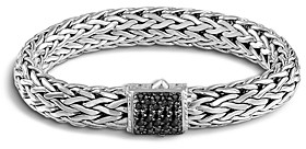 John Hardy Classic Chain Sterling Silver Lava Large Bracelet with Black Sapphire