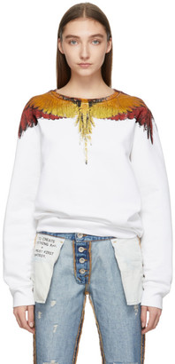 Marcelo Burlon County of Milan White and Multicolor Glitch Wings Sweatshirt