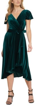 DKNY Velvet Flutter-Sleeve Midi Dress