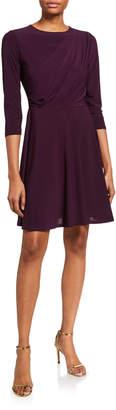 Neiman Marcus Draped 3/4-Sleeve Fit-&-Flare Dress