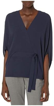 Halston Drape Sleeve Top (Navy) Women's Clothing