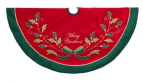 Kurt Adler 48-Inch Red and Green with Holly Tree Skirt