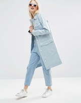Asos Premium Rain Trench In Coated Denim