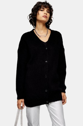 Topshop Womens Black Cocoon Cardigan - Black