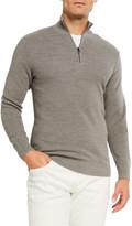 Ralph Lauren Purple Label Men's Pique Quarter-Zip Pullover, Light Gray