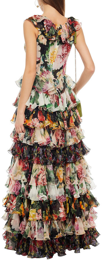 Thumbnail for your product : Dolce & Gabbana Tiered Floral-print Silk-blend Georgette Gown