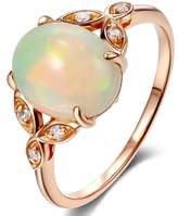 Kardy 2015 Christmas Gifts Presents Prime Sale Deals Brilliant&Noble Women's Opal Gemstone Solid 14K Rose Gold Natural Diamond Wedding Bridal Ring Promise Sets
