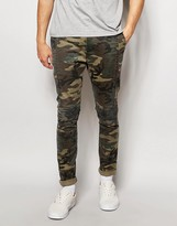 Asos Skinny Chinos In Camo Print With Biker Panels