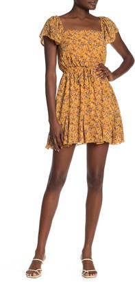 Rowa Floral Flutter Sleeve Mini Dress