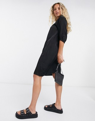 Object shirt dress with collar detail in black