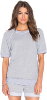 Stateside Skinny Heather Grey Stripe French Terry Short Sleeve Top