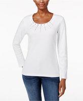Karen Scott Studded Scoop-Neck Top, Only at Macy's