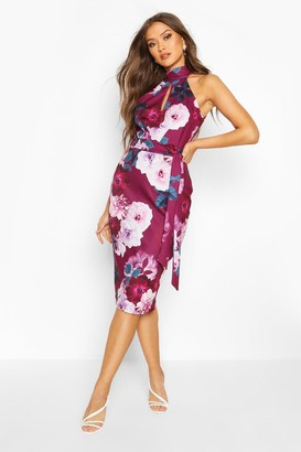 boohoo High Neck Floral Cut Out Detail Midi Dress