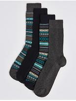 M&S Collection 4 Pairs of Cotton Rich Fairisle Socks