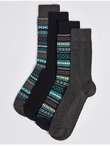 M&s Collection 4 Pairs of Cotton Rich Textured Fairisle Socks
