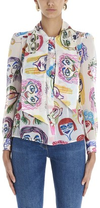 Moschino Faces Printed Pussybow Blouse