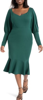 ELOQUII Sweetheart Neck Long Sleeve Sheath Dress