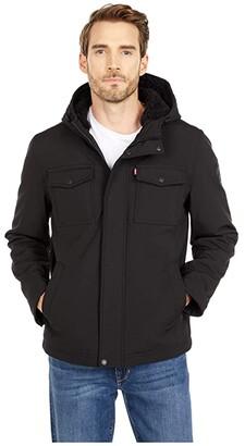 Levi's Softshell Hoodie Trucker Jacket w/ Sherpa Lining (Black) Men's Clothing