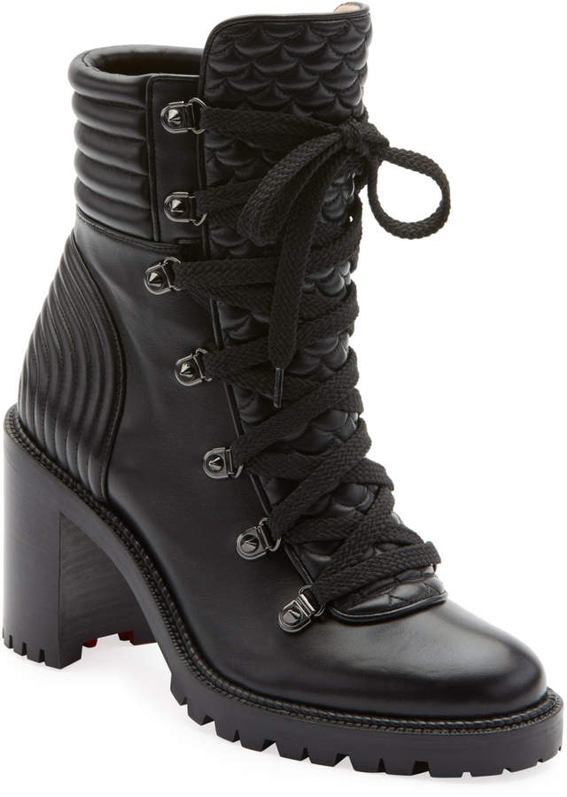 13b9bd2abab Mad Lace-Up Leather Block-Heel Hiker Boots