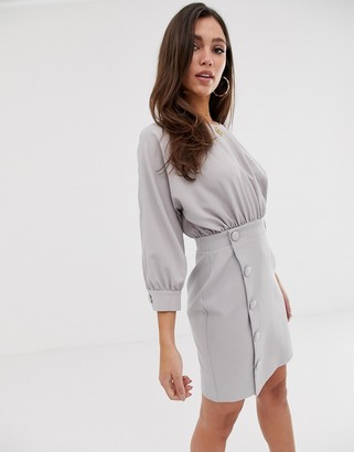 Asos Design DESIGN mini pencil dress with button skirt-Grey