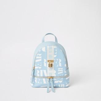 River Island Girls Blue RI printed lock front backpack
