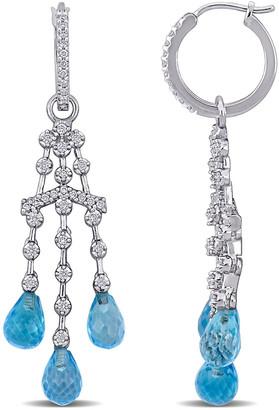 Diamond Select Cuts 14K 10.15 Ct. Tw. Diamond & Sky Blue Topaz Earrings