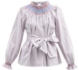 Thumbnail for your product : Loretta Caponi Maria Striped Cotton-poplin Blouse - Blue Stripe