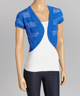Blue Bird Sheer-Stripe Sweater Shrug