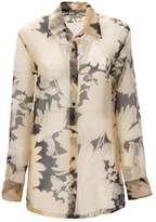 Dries Van Noten Beige Silk Classic Shirt With All Over Flowers Printed.