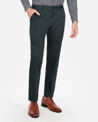 Express Slim Dark Green Cotton Sateen Stretch Suit Pant
