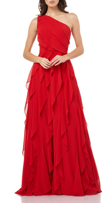 Carmen Marc Valvo Asymmetric One-Shoulder Cascading Chiffon Gown