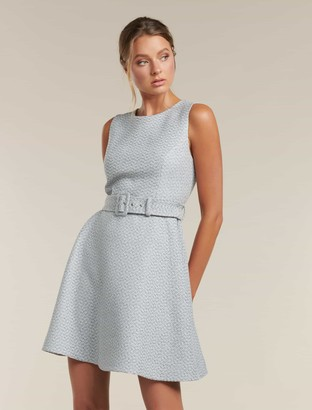 Forever New Brenda Belted Boucle Dress - GREY BOUCLE - 10