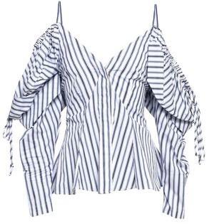 Petersyn Alice Cold-shoulder Striped Cotton-poplin Blouse