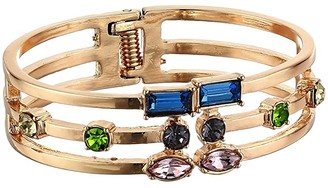 GUESS Hinged Cuff Bracelet with Scattered Colored Stones (Gold/Multi) Bracelet