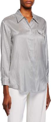 Giorgio Armani Striped Silk Button-Front Shirt