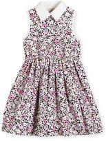 Kate Spade Sleeveless Floral Smocked Poplin Shirtdress, Pink, Size 7-14