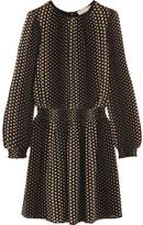 MICHAEL Michael Kors Aralia Polka-dot Crepe Mini Dress - Black