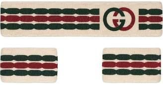 Gucci Interlocking G stripe headband and wrist cuffs